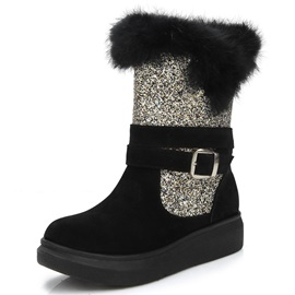 PU Slip-On Buckle Flat Women's Snow Boots