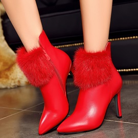 PU Side Zipper Stiletto Heel Women's Snow Boots
