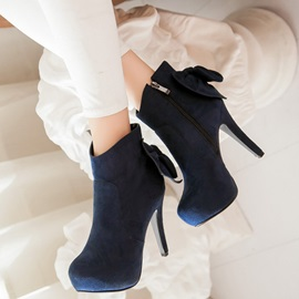 Nubuck Leather Bowtie Side Zipper Platform Ankle Boots