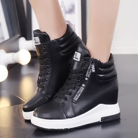 `PU Side Zipper Hidden Elevator Heel Women's Boots