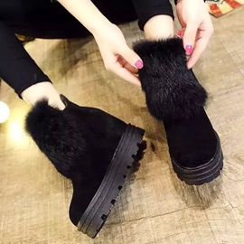 PU Side Zipper Hidden Elevator Heel Women's Boots