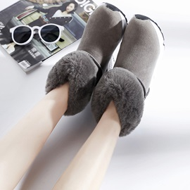 PU Slip-On Flat Round Toe Women's Boots