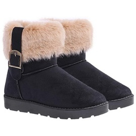 Nubuck Leather Slip-On Thread Women's Snow Boots