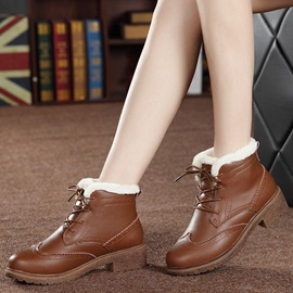 PU Lace-Up Front Women's Winter Boots