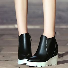 PU Side Zipper Platform Wedge Heel Women's Boots