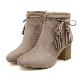 Suede Side Zipper Block Heel Tassel Women's Ankle Boots