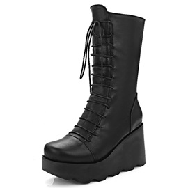 PU Lace-Up Front Platform Wedge Boots