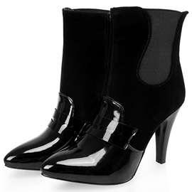 PU Side Zipper Stiletto Heel Women's Boots