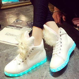 PU LED Animal Lace-Up Women's Boots