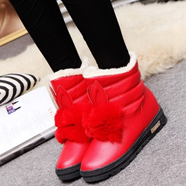 PU Slip-On Flat Women's Ankle Boots