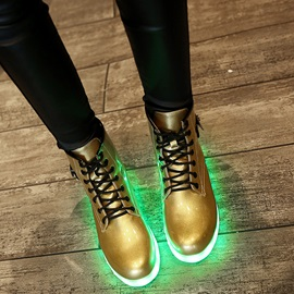 PU LED Lace-Up Front Flat Women's Boots