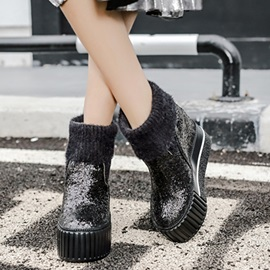 Sequins Slip-On Platform Thread Women's Boots