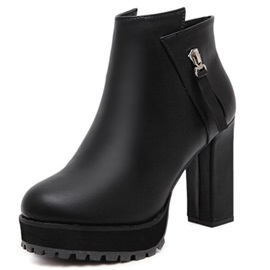 PU Black Platform Side Zipper Block Heel Women's Boots