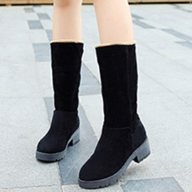 Suede Slip-On Flat Purfle Women's Boots Sale