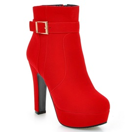 PU Side Zipper Platform Plain High Heel Women's Boots