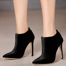 Simple Nubuck Leather Back Zip High Heel Women's Boots