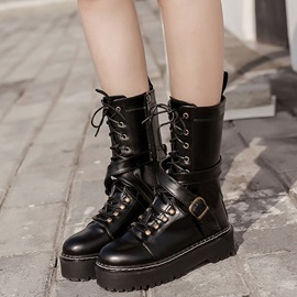 PU Side Zipper Cross Strap Platform Women's Ankle Boots