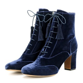 Velvet Royal Blue Chunky Heel Fashion Booties