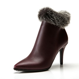 PU Side Zipper High Heel Women's Snow Boots