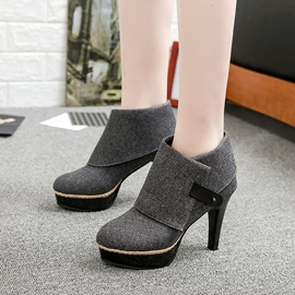 Faux Suede Purfle Hasp Spoon Heel Boots