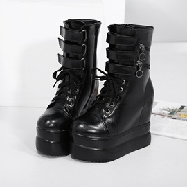 PU Side Zipper Cross Strap Hidden Heel Wedge Boots