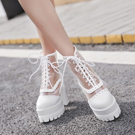 Mesh Patchwork Transparent Chunky Women's Boots