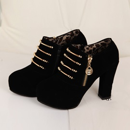 Faux Suede Side Zipper Sequin Women's Boots