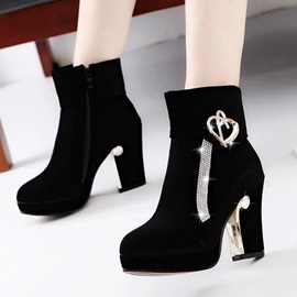 Faux Suede Sequin Color Block Ankle Boots