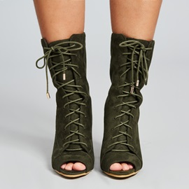 Faux Suede Strap Peep Toe Army Green Boots