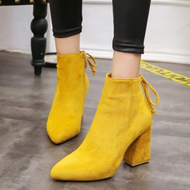 Faux Suede Lace-Up Side Zipper Pointed Toe Boots