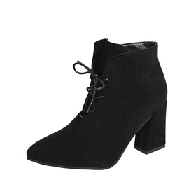 Faux Suede Pointed Toe Block Heel Women's Boots