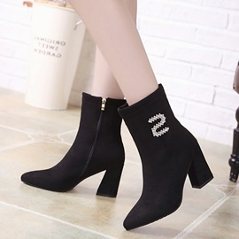 Faux Suede Rhinestone Pointed Toe Women's Boots