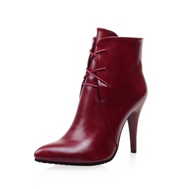 PU Lace-Up Front Pointed Toe Women's Boots