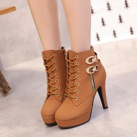 PU Buckle Cross Strap Zipper Stiletto Women's Boots