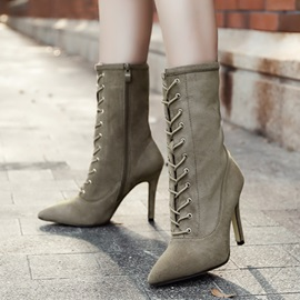 Faux Suede Side Zipper Cross Strap Stiletto Women's Boots