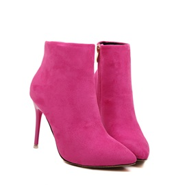 Faux Suede Pointed Toe Stiletto Multi-Color Ankle Boots
