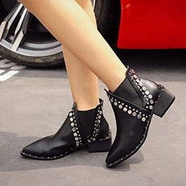 PU Pointed Toe Elastic Band Rivet Flat Boots