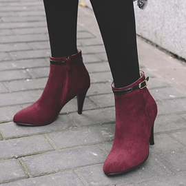 Faux Suede Buckle Side Zipper Stiletto Women's Boots