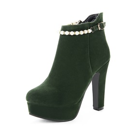 Faux Suede Pointed Toe Buckle Beads Women's Boots