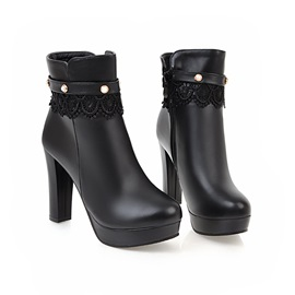 Faux Suede Beads Lace Chunky Heel Women's Boots