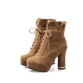 Faux Suede Side Zipper Cross Strap Pleated Women's Boots