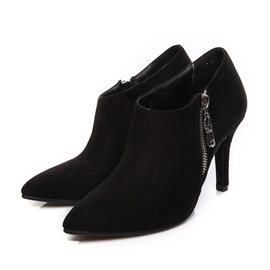 Faux Suede Side Zipper Pointed Toe Women's Ankle Boots