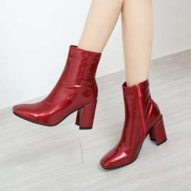 PU Side Zipper Round Toe Plain Women's Boots