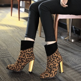 Faux Suede Leopard Patchwork Back Zip Women's Boots