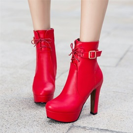 PU Buckle Cross Strap Chunky Heel Plain Women's Boots