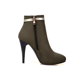 Faux Suede Stiletto Color Block Women's Boots