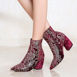 Faux Suede Floral Embroidery Sequin Women's Boots