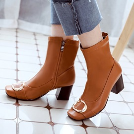 PU Square Toe Side Zipper Chic Women's Ankle Boots