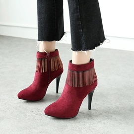 Faux Suede Fringe Chain Side Zipper Women's Boots