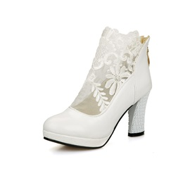 PU Patchwork Lace Back Zip Women's Ankle Boots